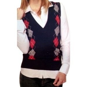 CAbi 100% Lambs Wool Argyle Sweater Vest Large